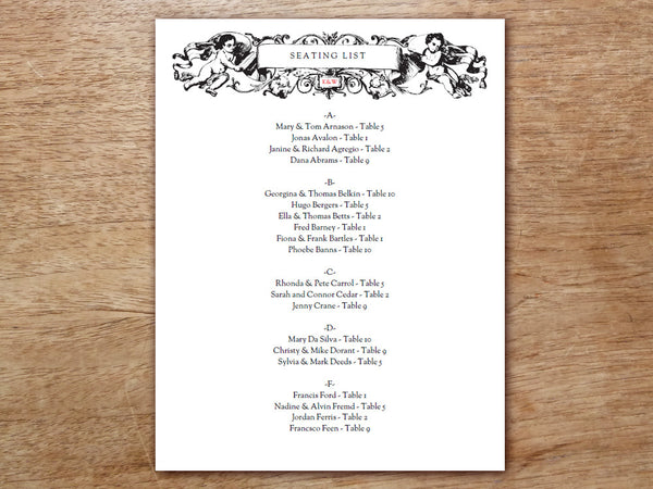 Printable Wedding Seating Sign - Kate & Wills