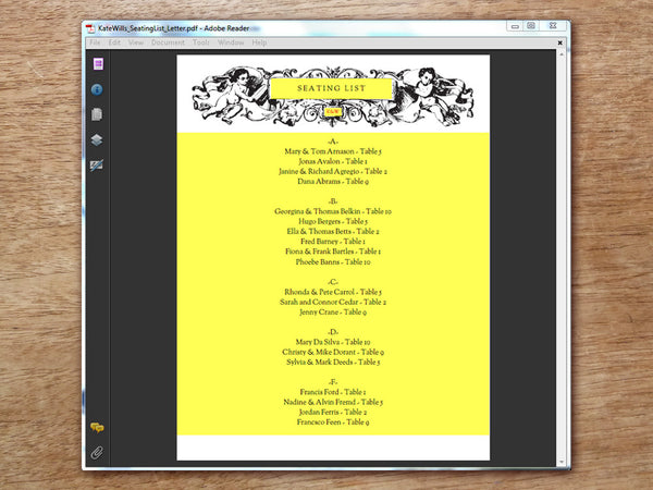Printable Wedding Seating List - Kate and Wills
