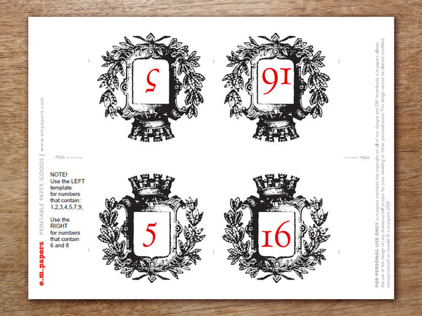 Printable Table Number - Kate and Wills
