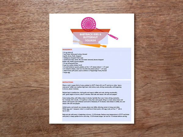Printable Recipe Page Template - Kitchen Utensils