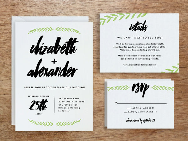 Printable Wedding Invitation Set - Laurel