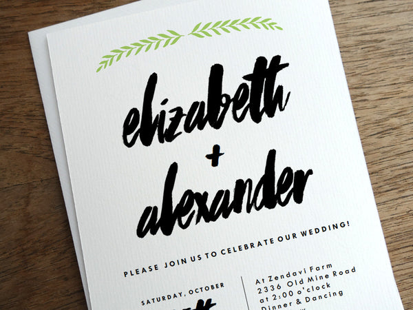 Laurel printable wedding invitation template