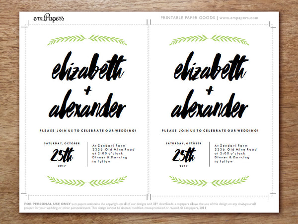 Printable Wedding Invitation - Laurel