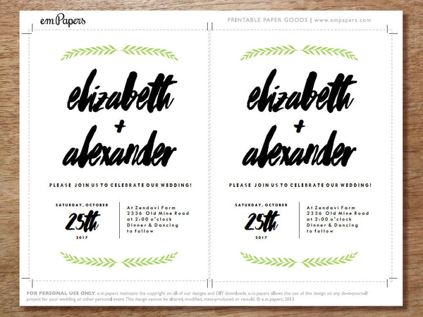 green leaf garland and hand lettered text printable wedding invitations