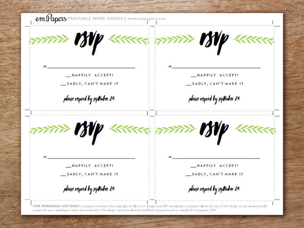 Printable Wedding RSVP Card - Laurel