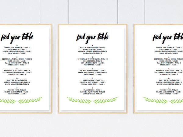 Printable Wedding Seating Sign - Laurel