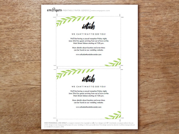Printable Wedding Information Card - Laurel