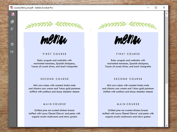 Printable Menu - Laurel
