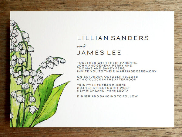 Printable Wedding Invitation - Lily of the Valley