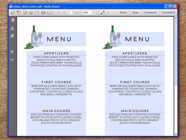 Printable Wedding Menu - LeMayr