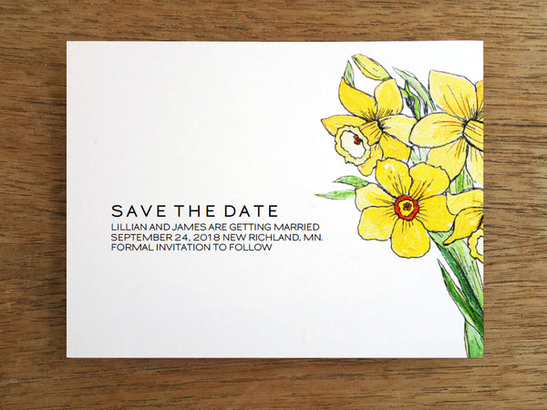 Yellow Daffodil Printable Save the Date