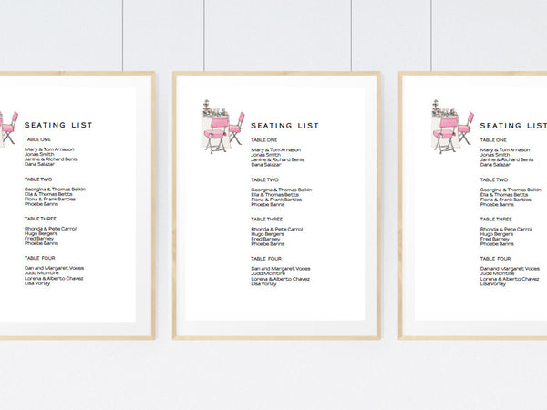 Pink Chairs Printable Seating List