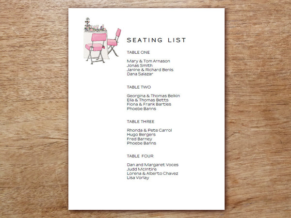 Printable Wedding Seating List - LeMayr