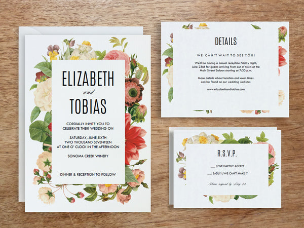 Printable Wedding Invitation Set - Lush Florals