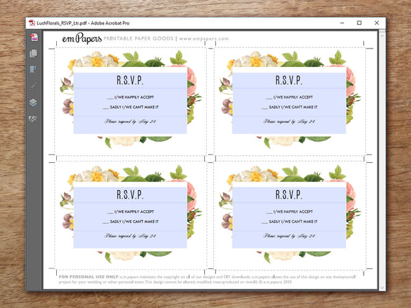 Printable Wedding RSVP Card - Lush Florals