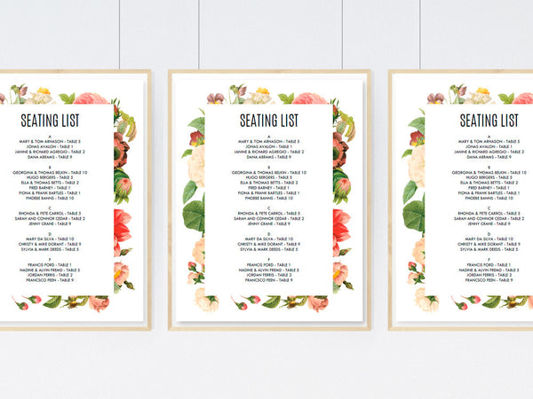 Printable Wedding Seating Sign - Lush Florals