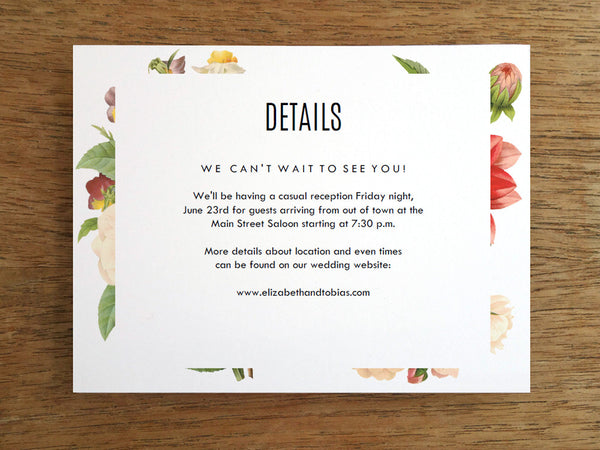 Printable Wedding Information Card - Lush Florals