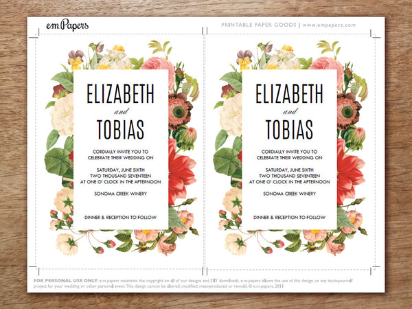 Printable Wedding Invitation - Lush Florals