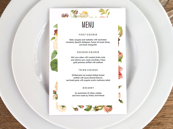 Printable Menu - Lush Florals