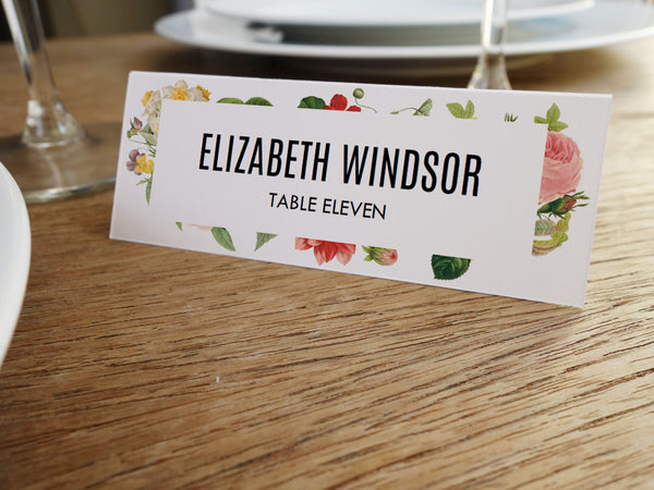 Printable Place Card - Lush Florals