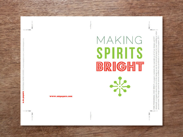 Printable Christmas Card Template - Making Spirits Bright