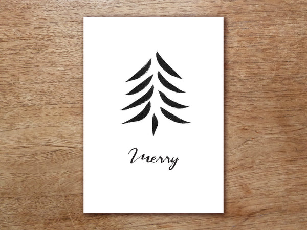 Printable Christmas Card - Black Christmas Tree
