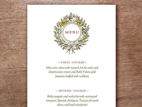 Printable Menu - Monogram