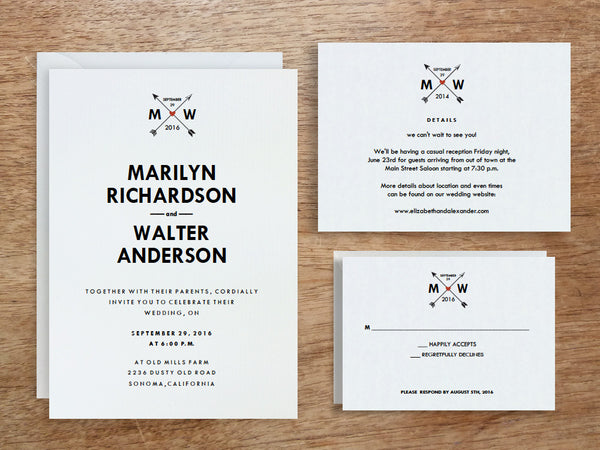 Printable Wedding Invitation Set: Monogram Arrows
