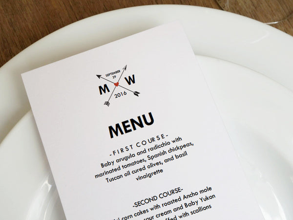 Printable Wedding Menu - Monogram Arrows