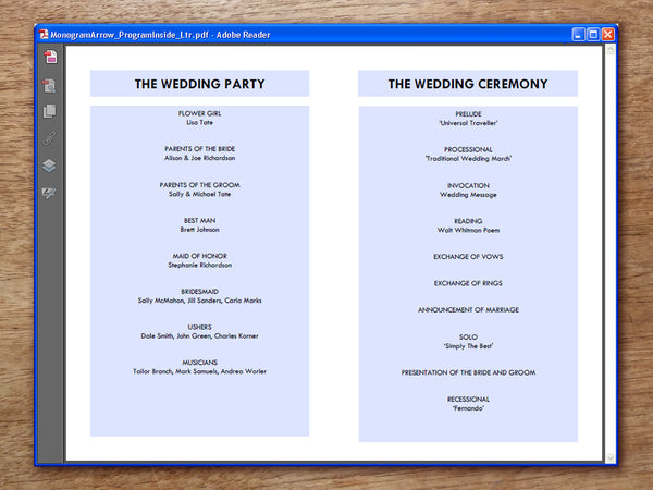 Printable Wedding Program - Monogram Arrows