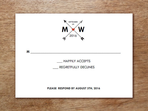 Printable Wedding RSVP Card - Monogram Arrows