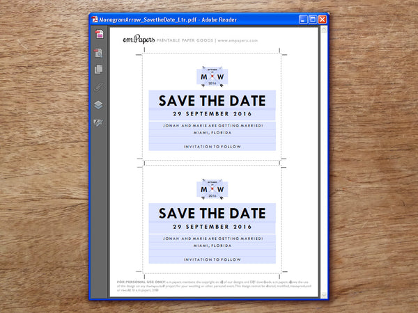 Printable Wedding Save the Date PDF template: Monogram Arrows