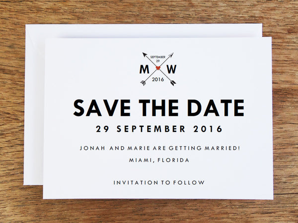 Printable Wedding Save the Date: Monogram Arrows