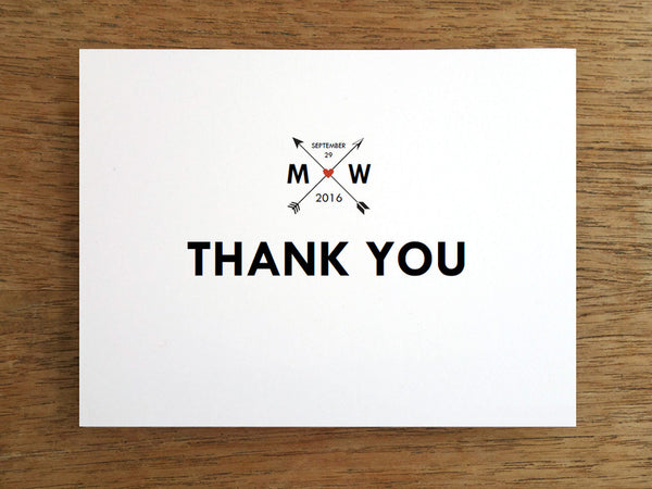 Printable Thank You Card - Monogram Arrows
