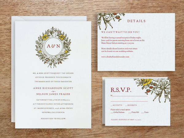 Printable Wedding Invitation Set - Monogram