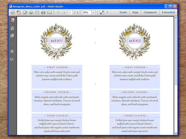 Printable Wedding Menu - Monogram