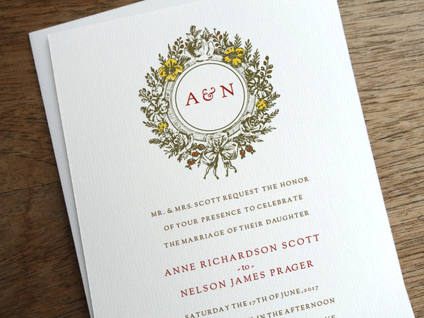 Printable Wedding Invitation - Monogram