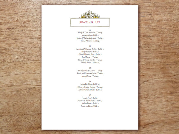 Printable Wedding Seating Sign - Monogram