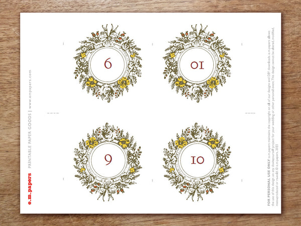 Printable Table Number - Monogram