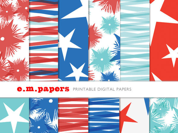 Printable Wrapping Paper - Fourth of July Patterns
