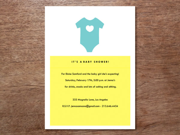 Printable Baby Shower Invitation - Onesie