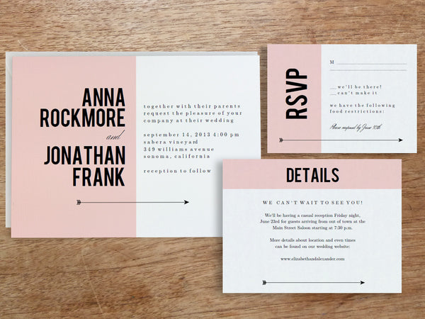 Printable Wedding Invitation Set - Pink Block