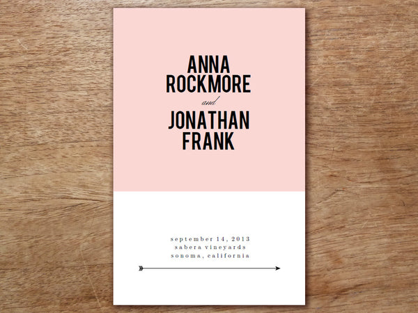 Printable Wedding Program - Pink Block