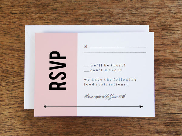Printable Wedding RSVP Card - Pink Block
