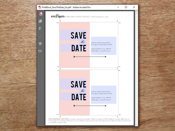 Printable Save the Date - Pink Block