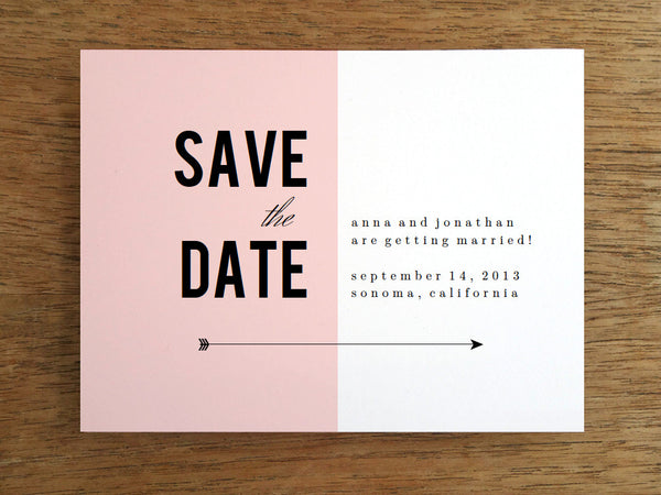 Printable Save the Date Template - Pink Block Black Arrow