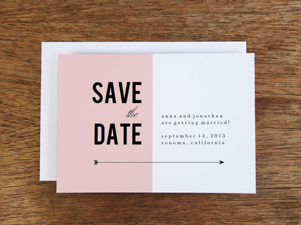 printable save the date template - Pink Block