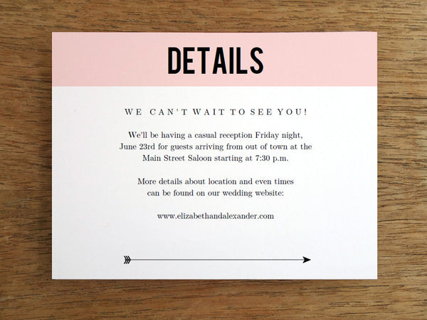 Printable Wedding Information Card - Pink Block