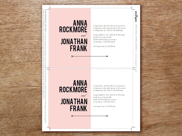 Printable Wedding Invitation - Pink Block