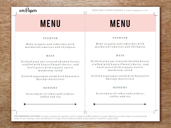 Printable Menu - Pink Block